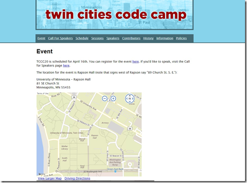 Screenshot of old Code Camp website